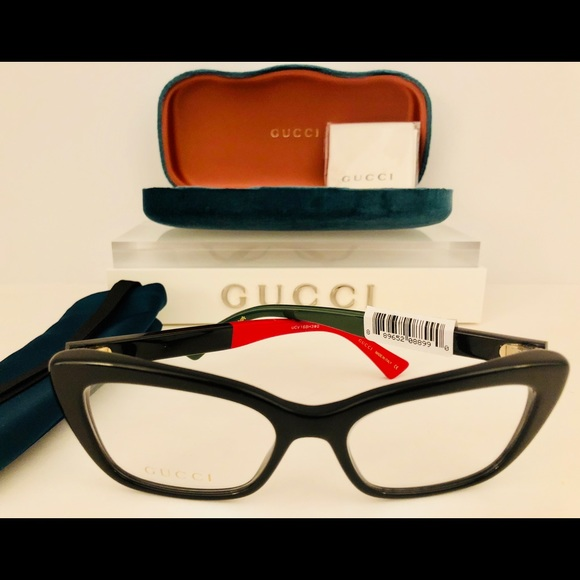 e2040c051c8f8 Gucci Eyeglasses Black Cat Eye Red Green New 51mm